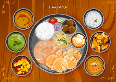 Traditional Haryanavi cuisine and food meal thali of Haryana India Illustration