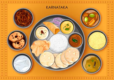 Traditional Karnatakan cuisine and food meal thali of Karnataka India