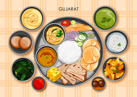 Traditional Gujarati cuisine and food meal thali of Gujarat India