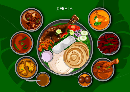 Traditional Keralite cuisine and food meal thali of Kerala India Vectores