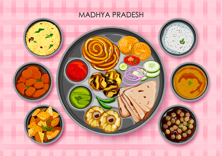 Traditional cuisine and food meal thali of Madhya Pradesh India Illustration