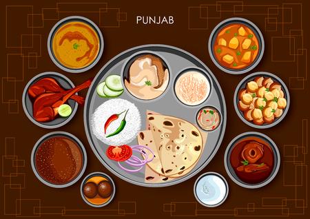 Traditional Punjabi cuisine and food meal thali of Punjab India