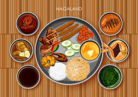 Traditional Naga cuisine and food meal thali of Nagaland India Illustration