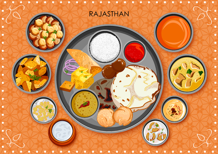 Traditional Rajasthani cuisine and food meal thali of Rajasthan India