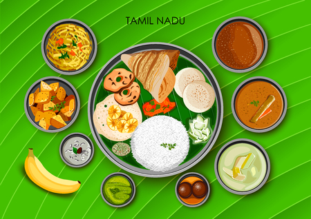Traditional cuisine and food meal thali of Tamil Nadu India