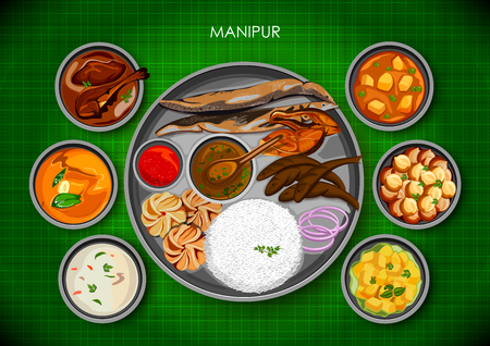 Traditional Manipuri cuisine and food meal thali of Manipur India
