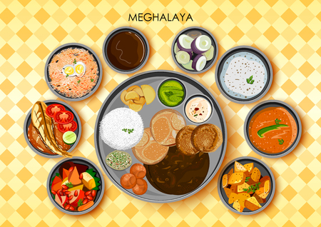 Tradycyjna kuchnia i jedzenie posiłek thali z Meghalaya Indie