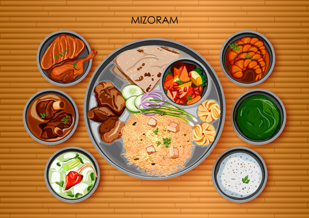 Traditional Mizorami cuisine and food meal thali of Mizoram India Illustration
