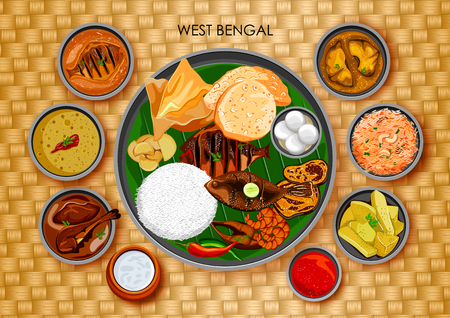 Traditional Bengali cuisine and food meal thali of West Bengal India Illustration