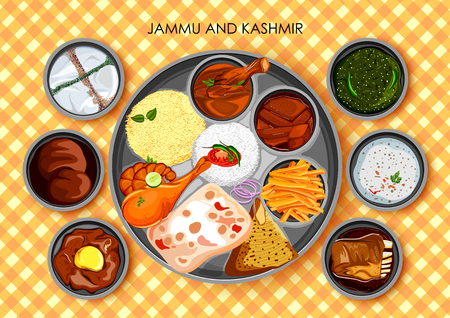 Illustration of Traditional cuisine and food meal thali of Jammu and Kashmir India Illustration