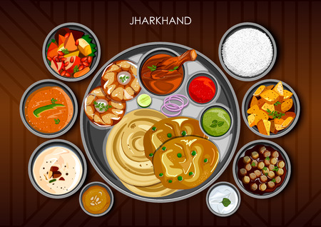 Illustration of Traditional cuisine and food meal thali of Jharkhand India