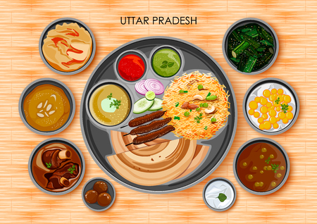 Traditional cuisine and food meal thali of Uttar Pradesh India