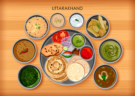 Traditional cuisine and food meal thali of Uttarakhand India