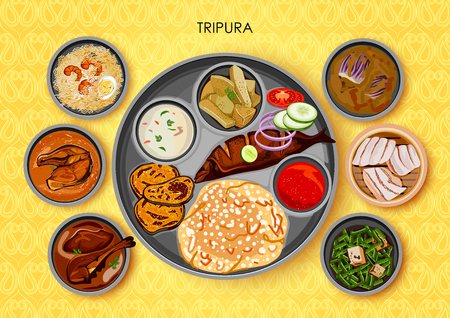 Traditional cuisine and food meal thali of Tripura India