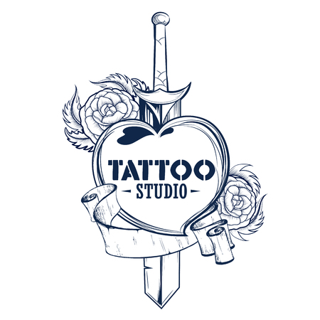 Tattoo art design of Floral Flower with sword.