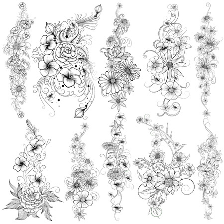 Tattoo art design of floral flower collection Stock Illustratie