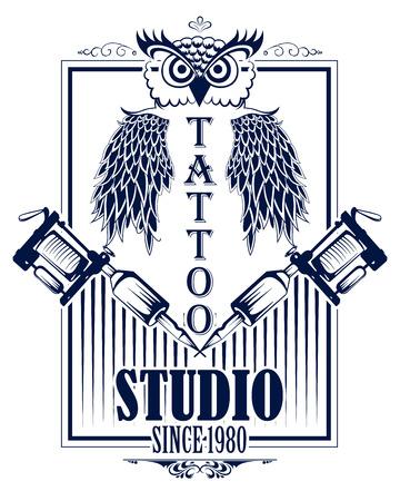 Tattoo art design of owl bird with tattooing machine