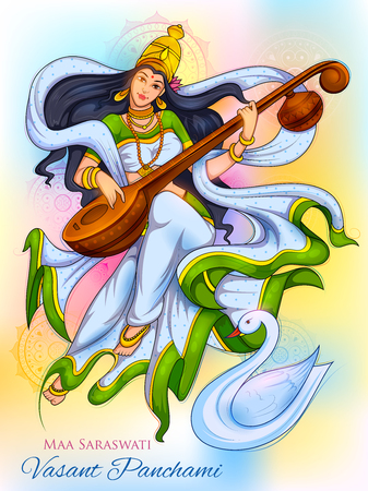 ヴァサント・パンチャミ・インド・フェスティバルの背景のための知恵サラスワティの女神
