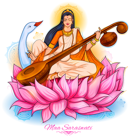 Goddess of Wisdom Saraswati for Vasant Panchami India festival background