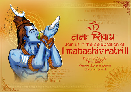 illustration of Lord Shiva, Indian God of Hindu for Shivratri with message Om Namah Shivaya meaning I bow to Shiva  Ilustração