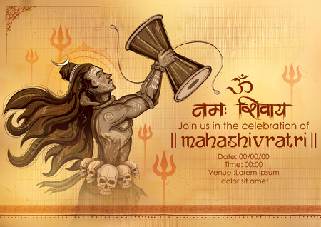 illustration of Lord Shiva, Indian God of Hindu for Shivratri with message Om Namah Shivaya meaning I bow to Shiva  向量圖像
