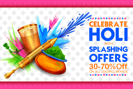 Happy Holi background for festival of colors celebration greetings.