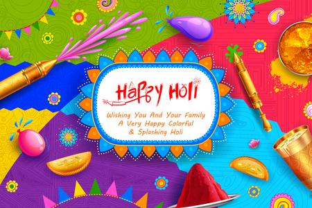 Fondo feliz Holi para saludos de celebración del Festival de colores