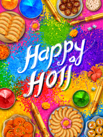 Powder color gulal for Happy Holi Background Stock Vector - 95883935