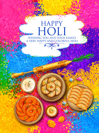 Powder color gulal for Happy Holi Background Stock Vector - 95883938