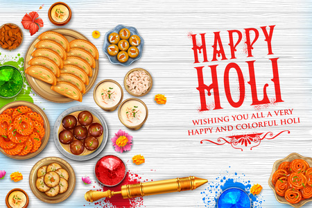 Powder color gulal and gujiya sweet with thandai for Happy Holi Background