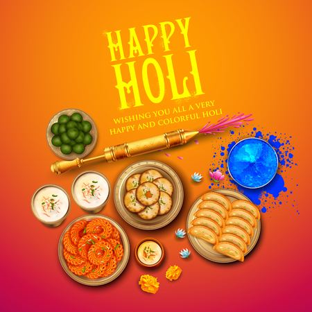 Powder color gulal and gujiya sweet with thandai for Happy Holi Background. Vector illustration.