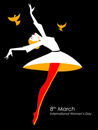 Happy International Womens Day 8th March greetings background Illustration