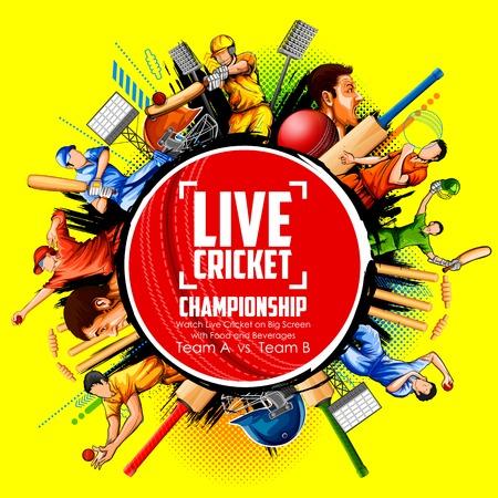 Battitore e giocatore di bocce che giocano gli sport di campionato del cricket Vector l'illustrazione. Vettoriali