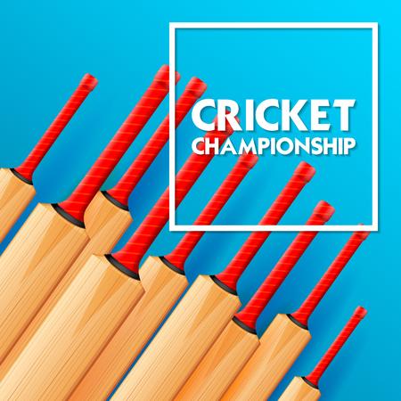 Cricket bat on sports background Illustration