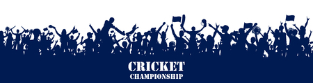 Stadium of Cricket with pitch for championship match and supporter fan people cheering team