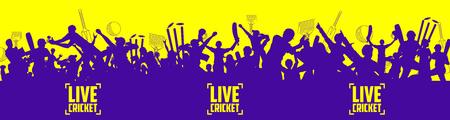 チャンピオンシップマッチのためのピッチとサポーターファンの人々応援チームとクリケットのスタジアム