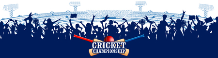illustration of Stadium of Cricket with pitch for champoinship match and supporter fan people cheering team Vettoriali