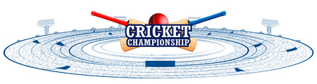 illustration of Stadium of Cricket with pitch for championship match and supporter fan people cheering team Illustration