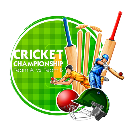 Player bat, ball and helmet on cricket sports background Vector illustration. Stock Illustratie