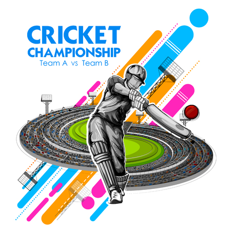 Batsman playing cricket championship sports Banco de Imagens