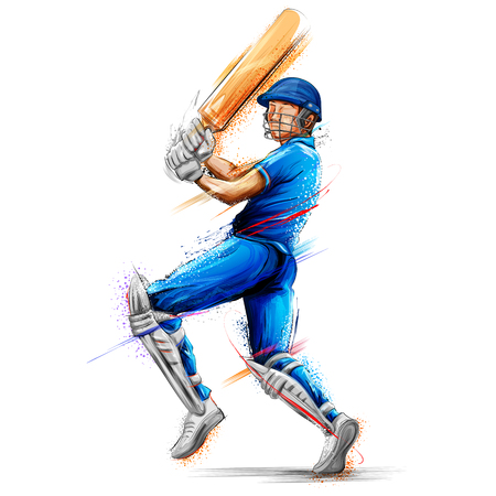 illustration of batsman playing cricket championship sports Иллюстрация