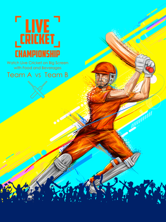 Batsman playing cricket championship sports Stock Illustratie