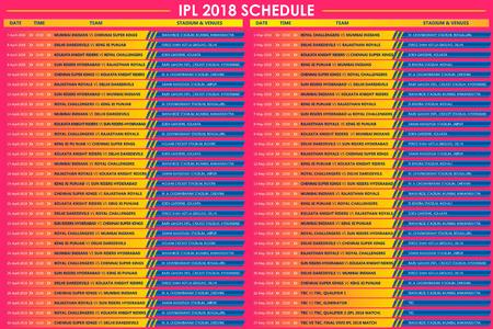 llustration of IPL Cricket match schedule for 2018 sports background Иллюстрация