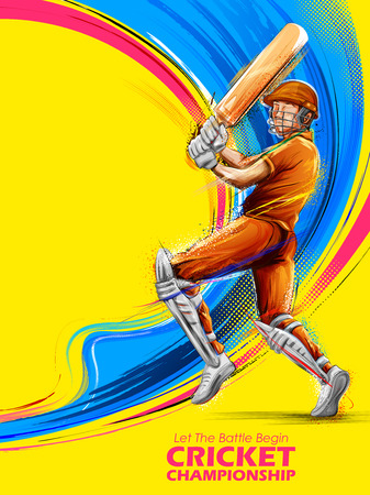 クリケット選手権スポーツをプレイするバットマンのイラスト  イラスト・ベクター素材
