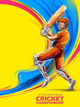 illustration of batsman playing cricket championship sports 일러스트