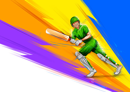 Batsman playing cricket championship sports  イラスト・ベクター素材