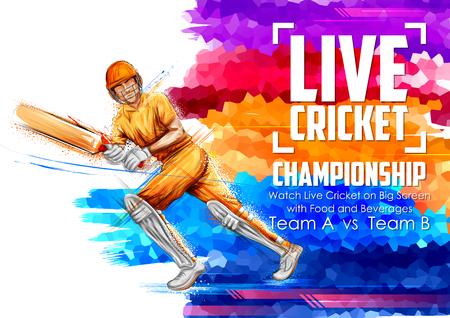 Batsman playing cricket championship sports Ilustração