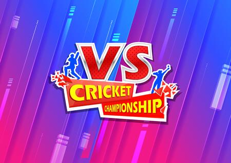 Batsman and bowler playing cricket championship sports Vector illustration.
