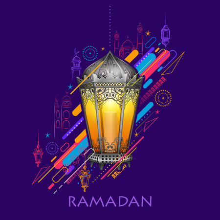 Ramadan Kareem (Generous Ramadan) greetings for Islam religious festival Eid with illuminated lamp Ilustracja