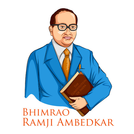 Dr Bhimrao Ramji Ambedkar with Constitution of India for Ambedkar Jayanti on 14 April Stock Vector - 98868856